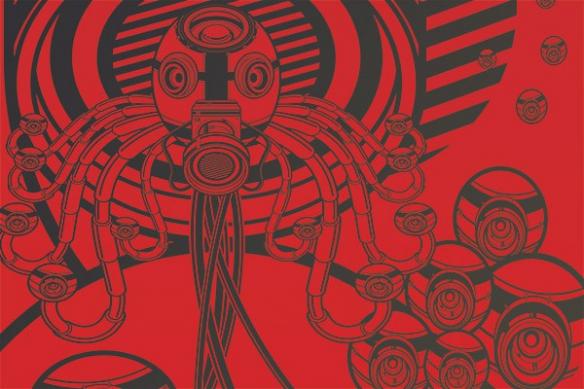 papier peint graphique geek webcam rouge