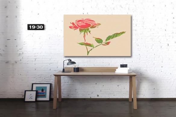 Déco intérieure toile fleur rose
