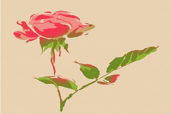 tableau déco fleur rose