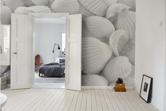 poster mur géant coquillages blancs
