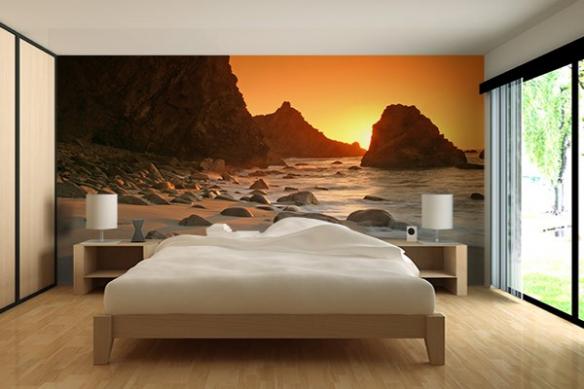 deco mur chambre poster paysage couché de soleil