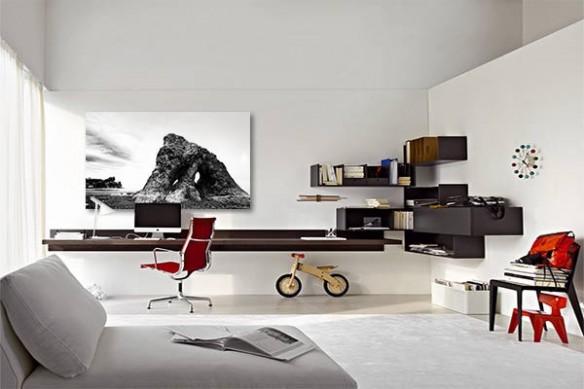 deco bureau tableau noir et blanc rocher