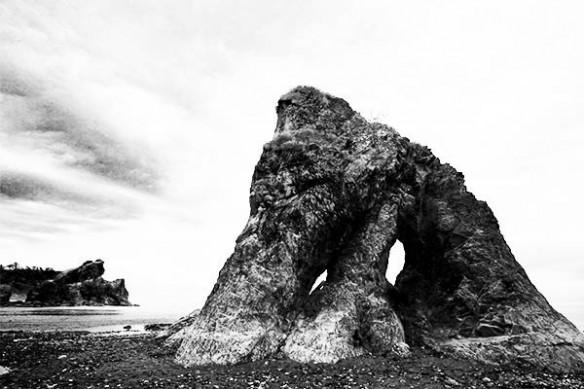 deco mur tableau photo noir et blanc rocher