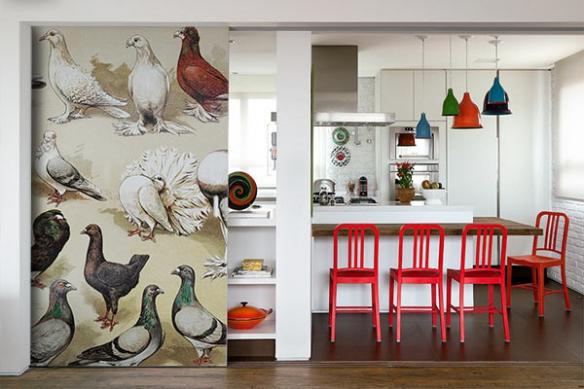 decoration mur retro oiseaux