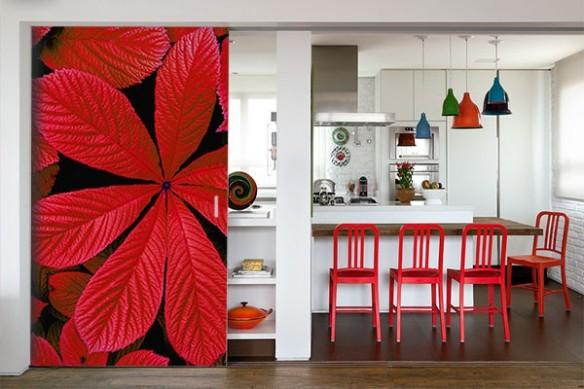 Déco murale cuisine poster géant Feuilles rouges