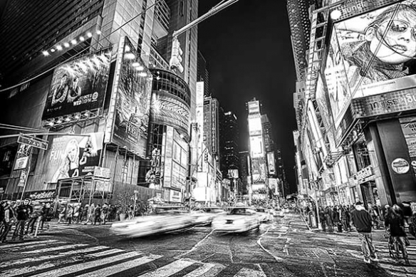 Papier Peint noir et blanc New York by night
