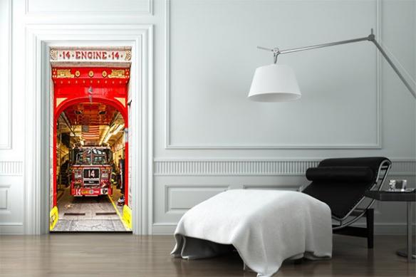 decoration porte sticker déco Pompier de New York