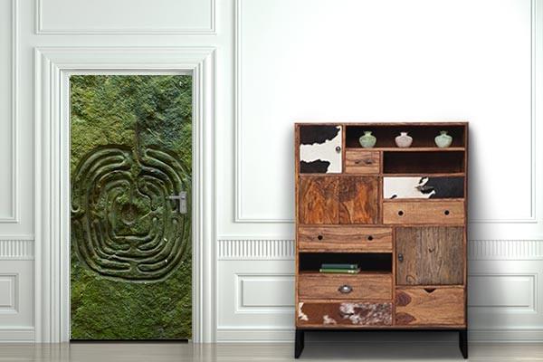 Sticker de porte labyrinthe v g tal izoa for Stickers pour porte d entree