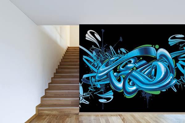 poster mural urbain graffiti izoa. Black Bedroom Furniture Sets. Home Design Ideas