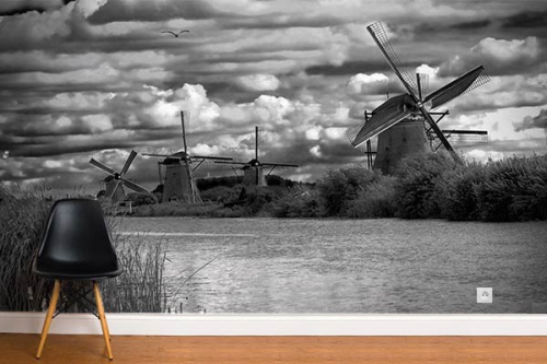 Papier peint original Moulins d'Amsterdam