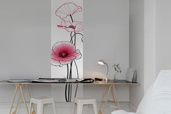 papier peint mur coquelicots roses izoa. Black Bedroom Furniture Sets. Home Design Ideas