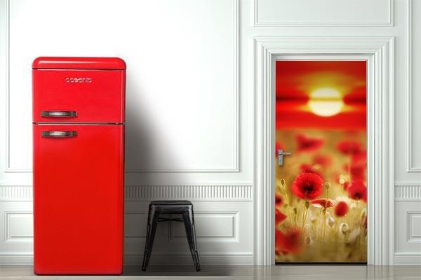 D coration porte red poppy izoa for Decoration porte de chambre