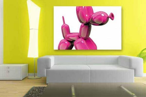 Tableau moderne chien ballon color - Tableau colore design ...
