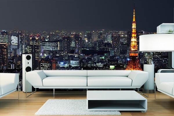 poster mural design tokyo by night izoa. Black Bedroom Furniture Sets. Home Design Ideas