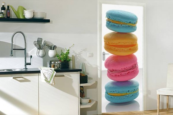 Sticker porte Cuisine Macarons Tricolores