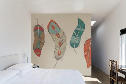 Papier peint Zen vintage Plumes Crayonnées