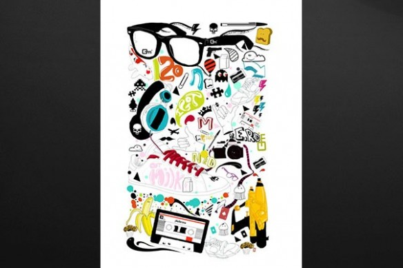 murale design tableau lunette sac à main