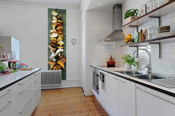 D coration murale cuisine papier peint l unique champignons for Decoration murale de cuisine
