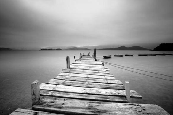 Tableau noir et blanc paysage Embarcadère