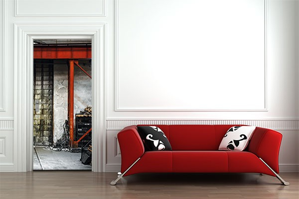 trompe l 39 oeil porte industriel izoa. Black Bedroom Furniture Sets. Home Design Ideas