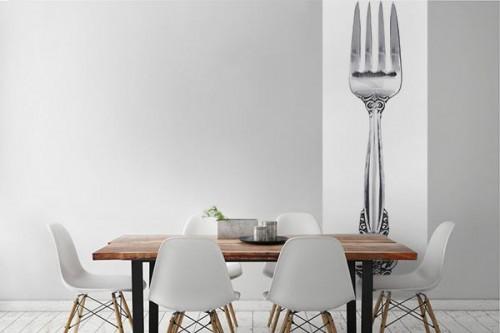 Papier peint salle manger fourchette