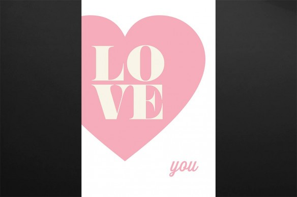 Tableau contemporain Love You rose