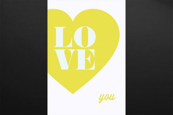 Déco murale vintage Love You jaune