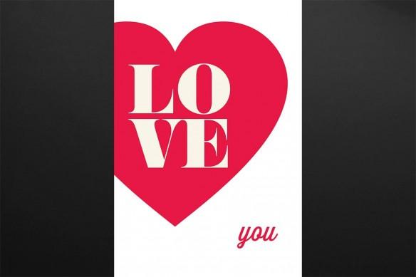 tableau deco Love You rouge