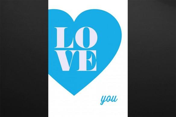 toile originale Love You bleu ciel