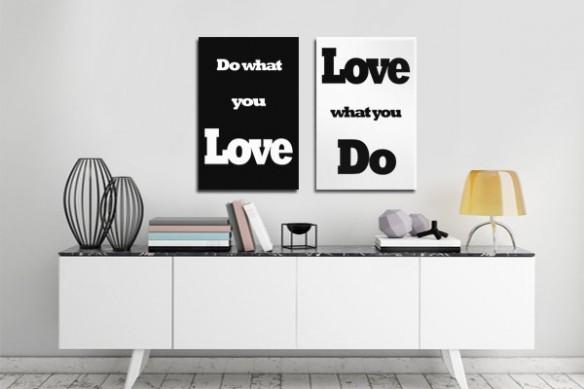 diptyque contemporain noir et blanc Do what you Love