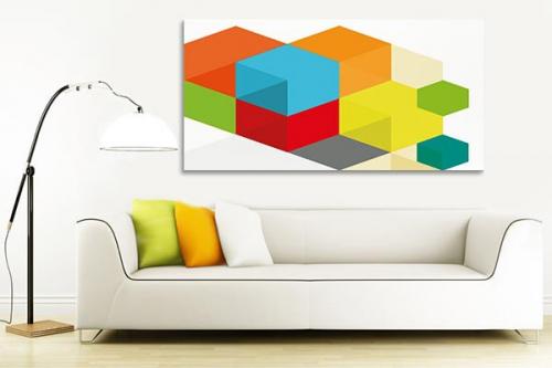 tableau moderne quadrillage de couleurs izoa. Black Bedroom Furniture Sets. Home Design Ideas