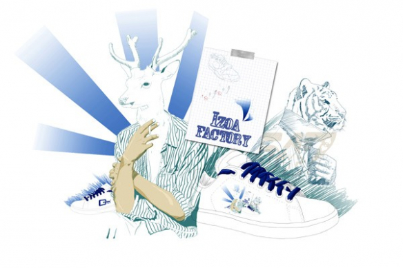 Tableau contemporain cerf izoa factory bleu