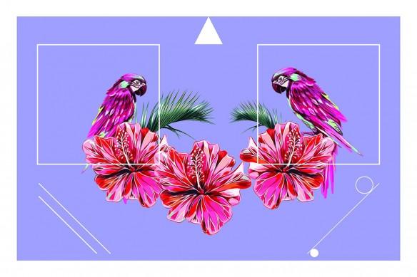 Tableau coloré Tropical Chic violet