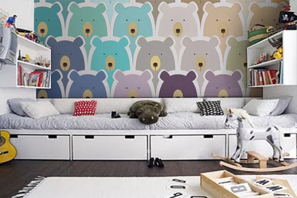poster mural pour enfant oursons izoa. Black Bedroom Furniture Sets. Home Design Ideas