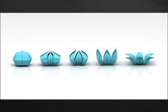 Origami mural design fleur cyan