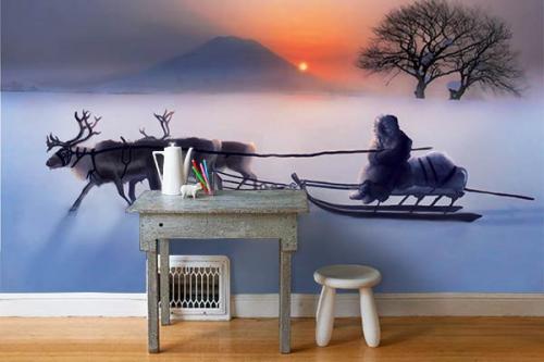 Papier peint scandinave Balade en traineau