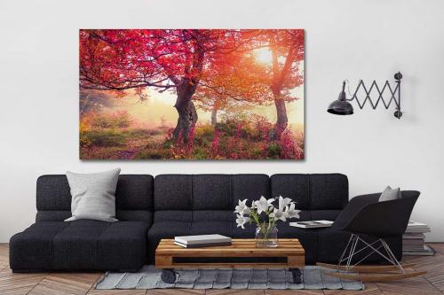 cadre d co paysage fushia izoa. Black Bedroom Furniture Sets. Home Design Ideas