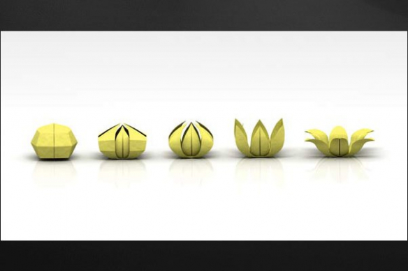 Tableau zen fleur Origami jaune