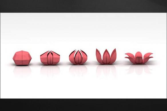 Tableau design moderne Origami mural rouge