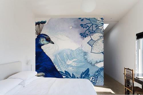 Papier peint chambre paon izoa - Papier peint original chambre ...