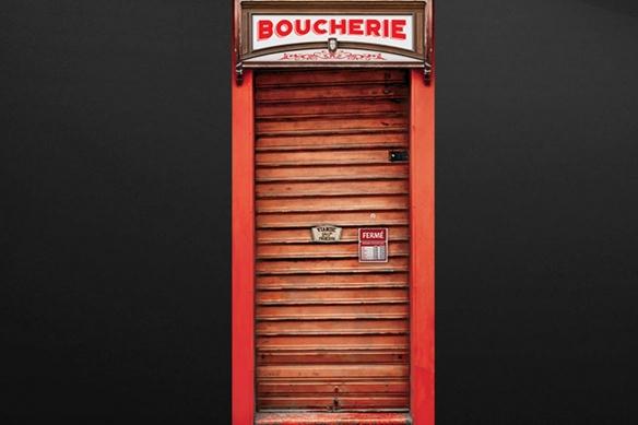 poster porte Devanture Métallique rouge boucherie