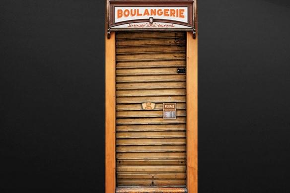 poster porte Devanture Métallique jaune boulangerie