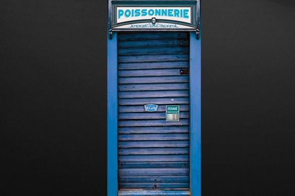 sticker porte Devanture Métallique bleu poissonnerie