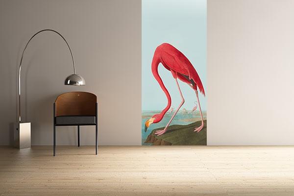 papier peint vintage flamant rose zoologique izoa. Black Bedroom Furniture Sets. Home Design Ideas