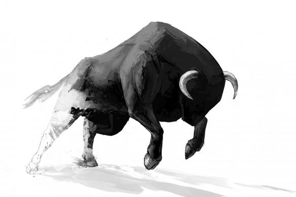 Tableau contemporain Taureau noir et blanc