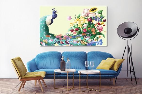 Tableau décoratif Paon Fleuri jaune