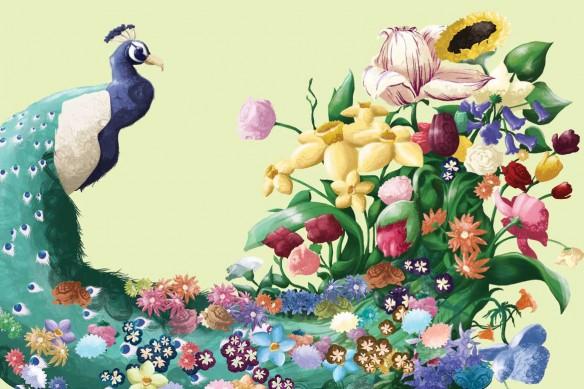 Tableau mural Paon Fleuri jaune