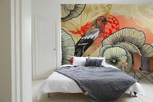 Papier peint chambre pic assiette izoa for Papier peint original chambre
