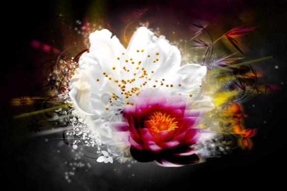 Tableau Fleur  mural design lumiere