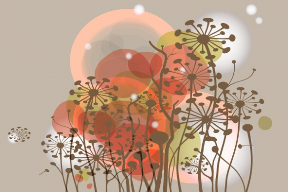 Papier Peint vintage fleurs  sauvages